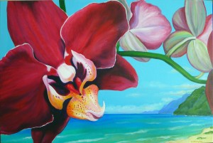Maroon Orchid, acrylic on canvas, 24 x 36 private collection